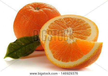 Extreme close-up image of orange on white background