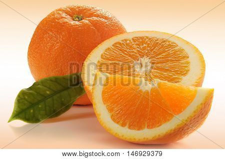 Extreme close-up image of sliced orange