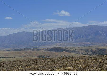 beautiful mountain panorama on the horizon, mountain landscape