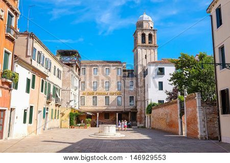 Venice, Italy, June, 21, 2016: street in a center of Venice, Italy