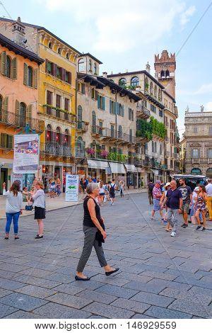 VERONA, ITALY - JULY, 2, 2016: STREET IN VERONA - ONE OF THE MOST BEAUTIFUL ITALIAN CITIES