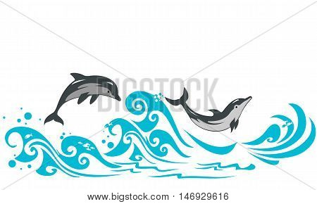 Couple of dolphins jumping in sea waves