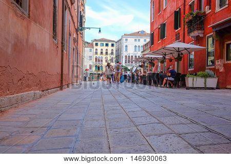Venice, Italy, June, 21, 2016: street in a center of Venice, Italy