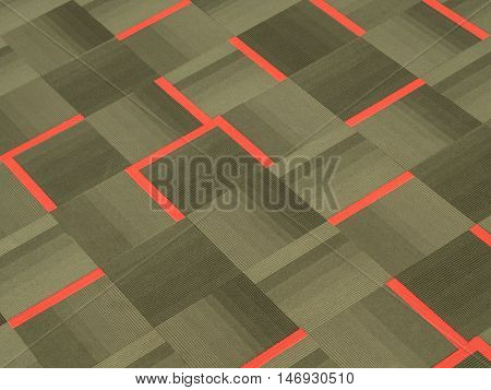 red brown grey tile pattern carpet with vertical and horizontal stripe