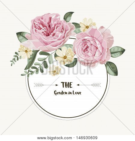 Luxury card with vintage flowers and round label