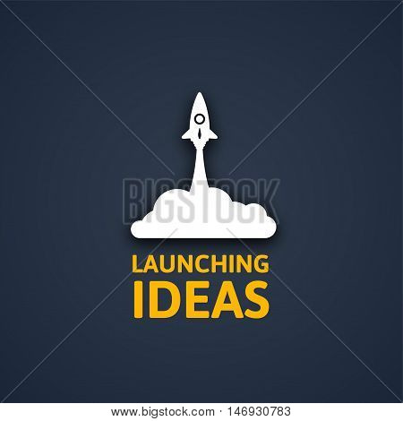 White rocket and cloud, icon in flat style isolated on dark background, conceptual of start up new business project, take off of a business or project or extraterrestrial travel vector illustration