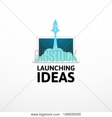 Blue rocket and laptop, icon in flat style isolated on white background, vector illustration