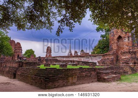 old brick wall in ayuthaya world heritage site of unesco central of thailand