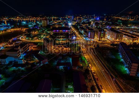 Labuan,Malaysia-Sept 12,2016:Aerial view of the city night of Labuan town,Malaysia.