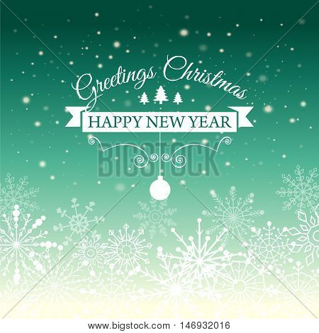 Vector illustration of Happy New Year and Merry Christmas e-card with snowflakes and designed vintage insignia. Poster. Post card.