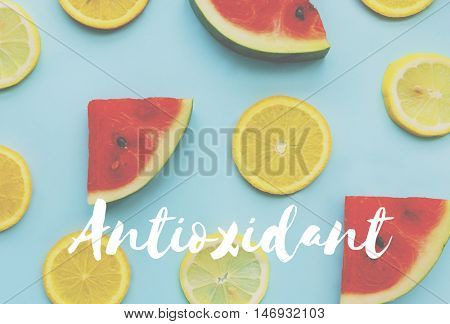 Watermelon Orange Healthy Fresh Fruits Words Concept