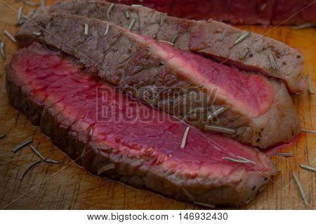 The Top  beef steak  slice cooking rare