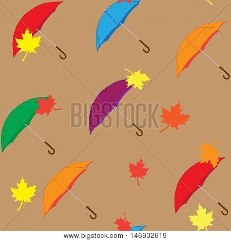 Seamless pattern of umbrellas and leaves , autumn theme