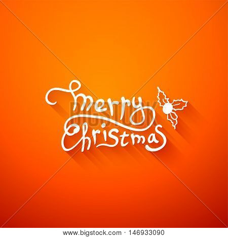 Merry christmas lettering, calligraphy vector greeting card