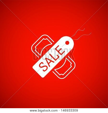 Sale symbol, tag and dollar icon, vector illustration