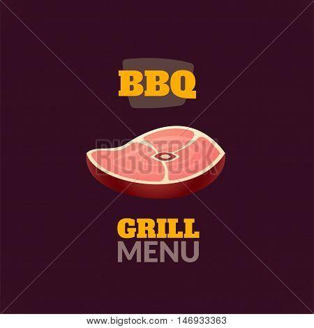 Vintage retro BBQ badge, vector isometric logo label