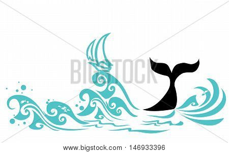 Whale's black tail in the stylized sea waves