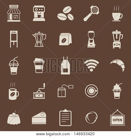 Coffee shop color icons on brown background, stock vector