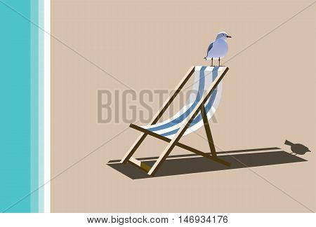 Beach chair with a sitting sea gull