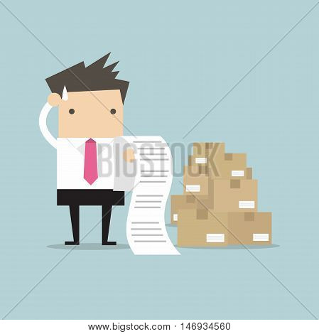 Businessman confused with bill and product box vector illustration