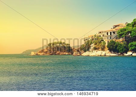 View From The Deck Of Cruise Ship On The Skiathos Town. Skiathos Island, Sporades Archipelago. Greec