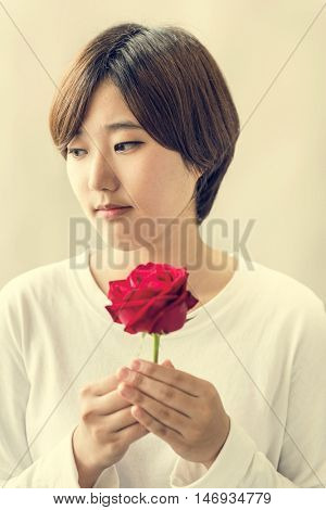 Asian Girl Flower Freshness Relaxation Rose Concept