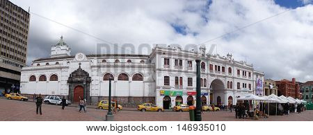 PASTO, COLOMBIA - JULY 3, 2016: panoramic view of the church in the central square of the city.