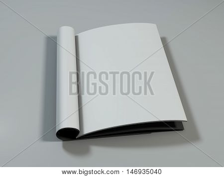 Open magazine with blank pages on white desk. 3D rendering.