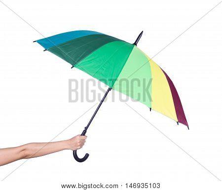 Hand Holding Multicolored Umbrella Isolated On White