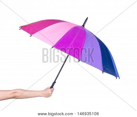Hand Holding Multicolored Umbrella Isolated On White