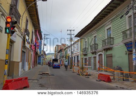 PASTO, COLOMBIA - JULY 3, 2016: repair works on the sidewalks of the city.