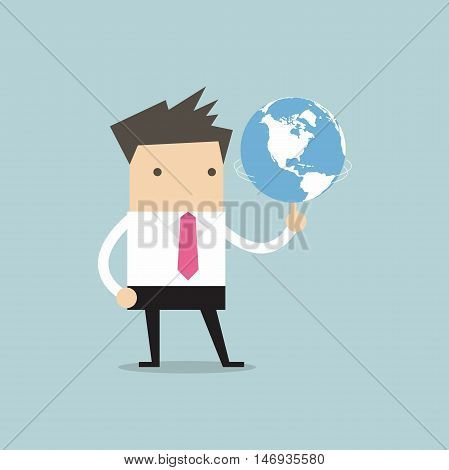 Businessman spinning the world glob vector illustration