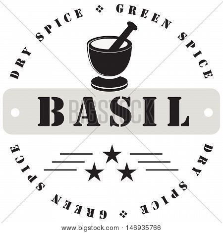 Stamp print for spices - Basil. Vector illustration.