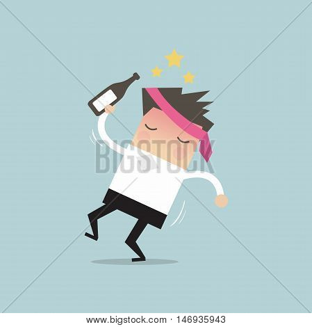 Drunk businessman with alcohol bottle vector illustration