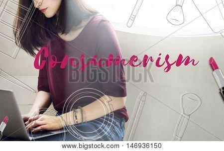 Shopping Shopaholics Makeup Sales Online Concept