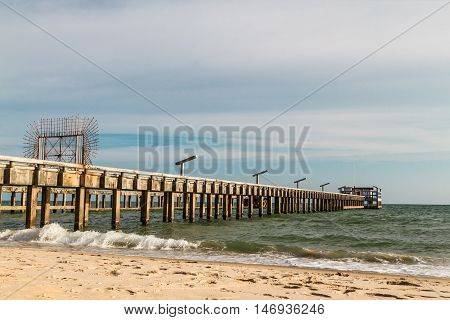Sea water pumping jetty in Rayong city Thailand .