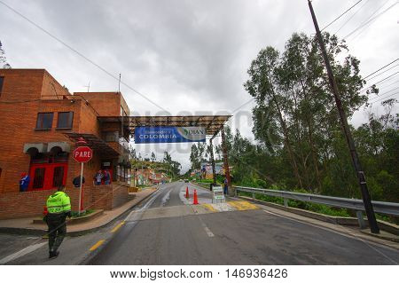 TULCAN, ECUADOR - JULY 3, 2016: checkpoint in the borderline between ecuador and colombia.