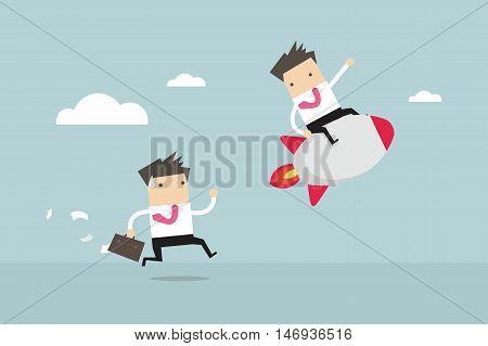 Business man competition. Competitive advantage. vector illustration
