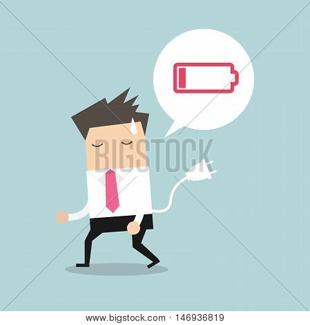 Businessman feeling tired and low power battery. Vector
