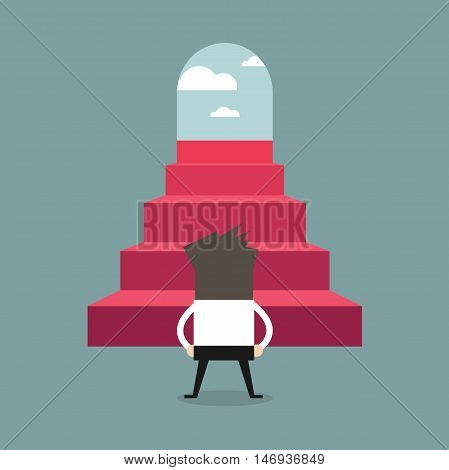 Successful businessman climbing steps. Back view. Career ladder, stairs, success