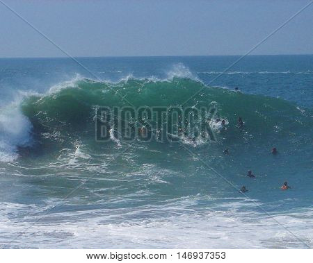 Big waves and body surfers at The Wedge, Newport Beach, CA, September 2011