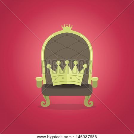 Royal Chair with the crown vector illustration