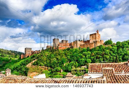 Granada Spain. Famous Alhambra Nasrid Emirate fortress European travel landmark in Andalusia.