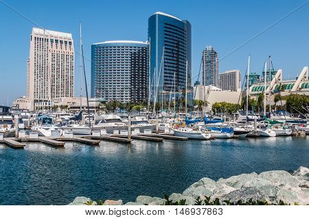 San Diego hotels and convention center from the Embarcadero South.