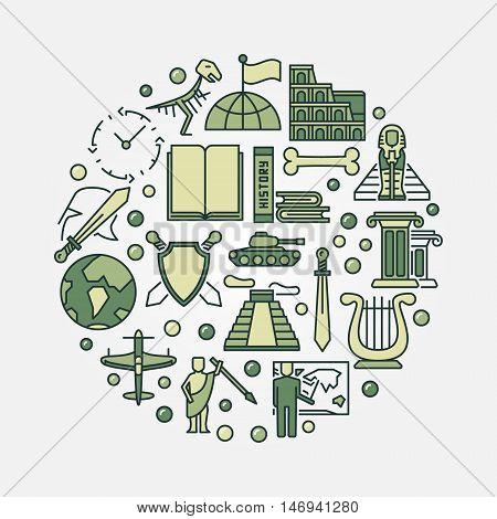 Flat history illustration. Vector green round world history school subject sign poster