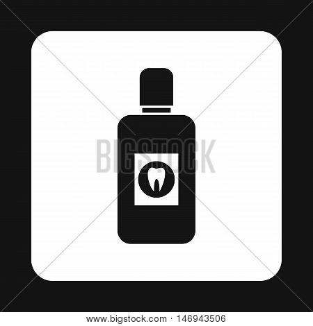 Plastic bottle of mouthwash icon in simple style isolated on white background vector illustration