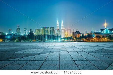 Night view of Kuala Lumpur city with empty floor