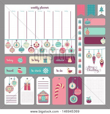 Cute holidays planner concept. Stickers tags templates for organized planner. Template for diary scrapbooking wrapping invitation notebooks. Vector Christmas and New Year elements.