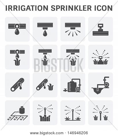 Irrigation system and watering by sprinkler vector icon set design.