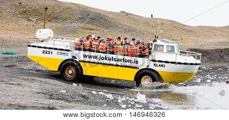 Jokulsarlon, Iceland - July 21, 2016: Jokulsarlon Glacial Lagoon Boat Tour In Iceland On July 21, 20